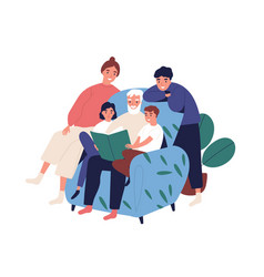Grandfather and relatives reading book sitting on vector