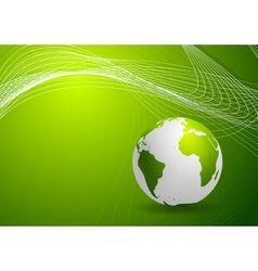 Green background with globe and lines vector