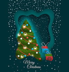 greeting merry christmas with fir-tree vector image