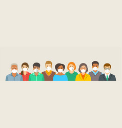 Group people in protective medical face masks vector