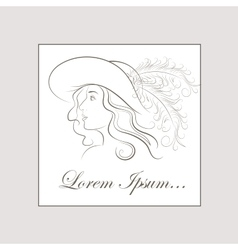hand drawing girl in vintage hat vector image