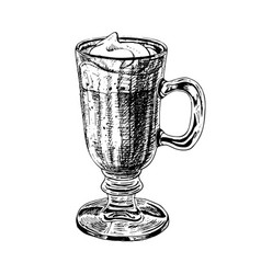 Hand drawn glass cup with latte or cappuccino vector