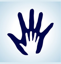 Hand in hand rendering idea of help assistance vector