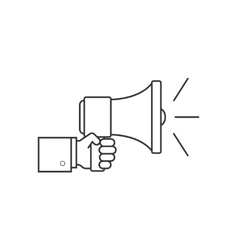 Hand with speaker line icon vector