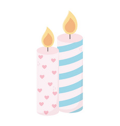happy valentines day burning candles love hearts vector image