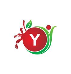 Health fruit juice initial y vector