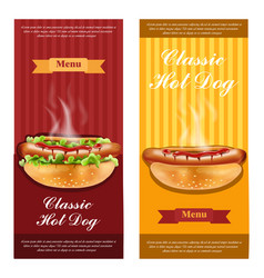 hot dog flyers set realistic detailed 3d vector image