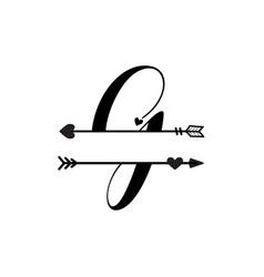 Initial g love monogram split letter isolated vector