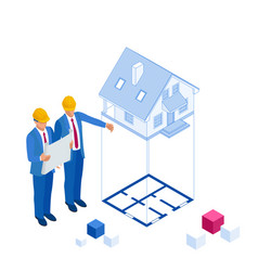 isometric architect builders studying layout plan vector image