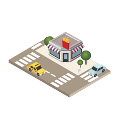 Isometric city fast food restaraunt french fries vector