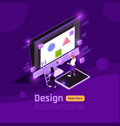isometric people and interfaces glow concept vector image