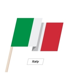 Italy ribbon waving flag isolated on white vector