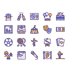 leisure linear color icons set vector image