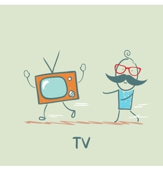 man catches up with TV vector image
