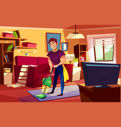 Man cleaning living room vector