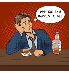 Man with bad mood drinks in bar pop art vector image