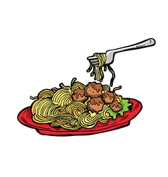 Meatballs spaghetti vector