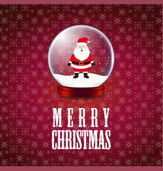 merry christmas santa claus snowflake background vector image