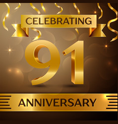 Ninety one years anniversary celebration design vector