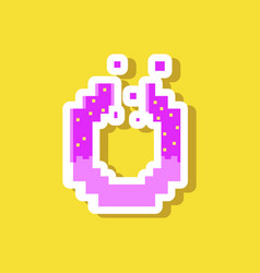 Paper sticker on stylish background pretzel vector