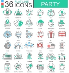 Party club color flat line outline icons vector