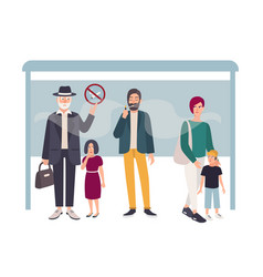 Passive smoking concept man smokes at a bus stop vector