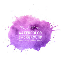 purple paint splatter background watercolor vector image
