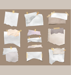 ripped torn paper realistic set vector image