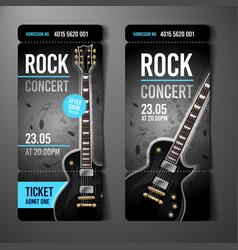 rock concert ticket template with black guitar vector image