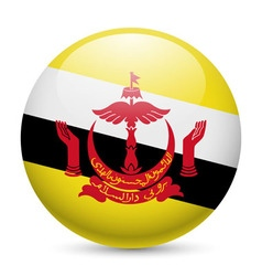 Round glossy icon of brunei vector image