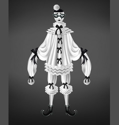 sad and crying harlequin costume realistic vector image