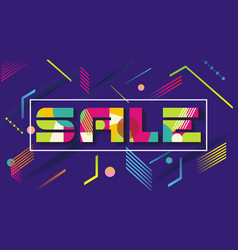 Sale letter with flat geometric pattern vector
