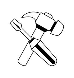 Screwdriver and hammer tools icon image vector