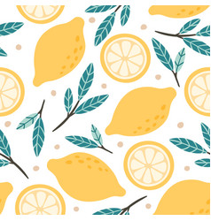 Seamless lemon pattern hand drawn doodle citrus vector