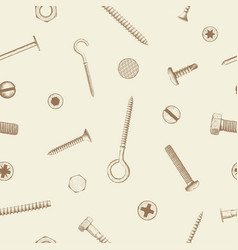 Seamless pattern of industrial fasteners vector
