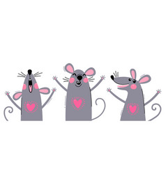 set funny rats for design cute little mice vector image