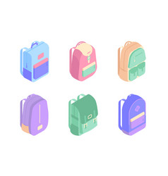 Set of colorful backpacks isometric icons in 3d vector