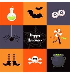 set of Halloween icons vector image