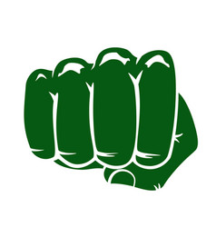 Silhouette green fist on a white background vector