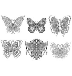 Six butterflies vector