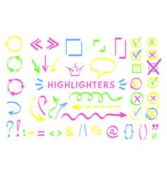 sketchy symbol and arrows highlight pen set vector image
