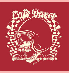 skull helmet cafe racer hand drawing vector image