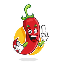 Smart chili pepper mascot chili pepper character vector