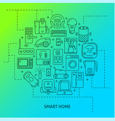 Smart home round poster template in line style vector