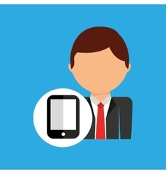 Smartphone business man suit worker icon vector
