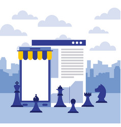 Smartphone website report chess pieces strategy vector