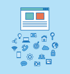 Social media marketing set icons vector