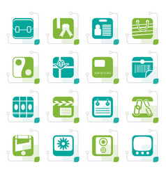 stylized business and internet icons vector image