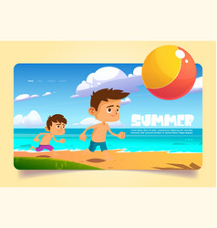 summer banner with kids play on sea beach vector image