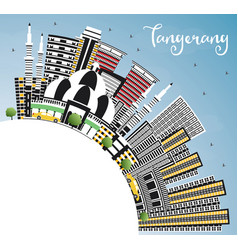 Tangerang indonesia city skyline with gray vector